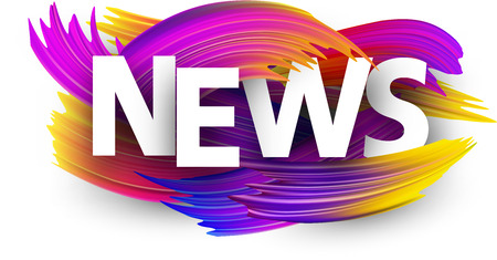 News sign with spectrum brush strokes on white background. Colorful gradient brush design. Vector paper illustration.