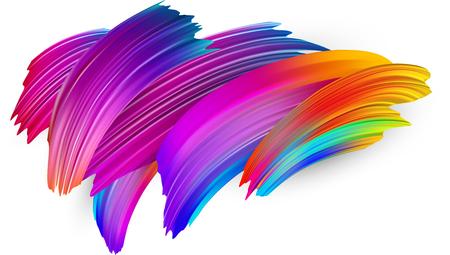 Spectre de coups de pinceau aquarelle, acrylique ou gouache dessinés sur fond de papier blanc. Conception de pinceau dégradé coloré. Modèle abstrait de carte ou d'affiche. Illustration d'art vectoriel.