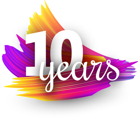 Ten years greeting card with spectrum brush strokes on white background. Colorful gradient brush design. Vector paper illustration.
