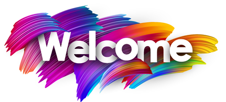 Welcome poster with spectrum brush strokes on white background. Colorful gradient brush design. Vector paper illustration.