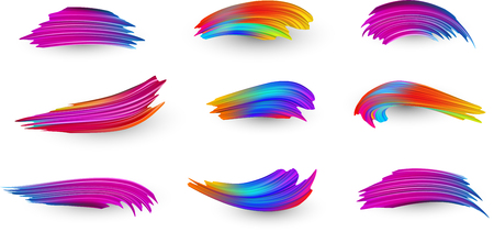 Bright gradient paint brush strokes set. Colorful spectrum brush design in pink, blue and orange colors isolated on white background. Vector illustration.