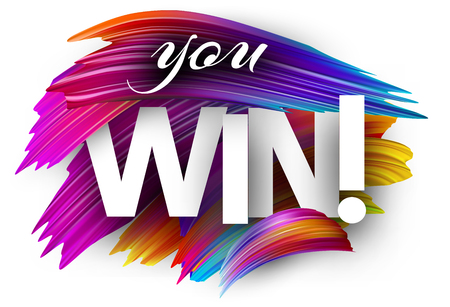 You win poster with spectrum brush strokes on white background. Colorful gradient brush design. Vector paper illustration. Stock Illustratie