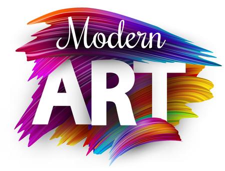 Modern art poster with spectrum brush strokes on white background. Colorful gradient brush design. Vector paper illustration.