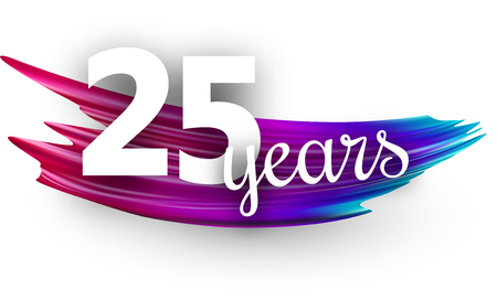 Twenty five years greeting card with spectrum brush stroke on white background. Colorful gradient brush design. Vector paper illustration. Illusztráció
