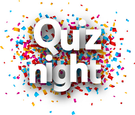 Quiz night poster with colorful paper confetti. Vector background. Ilustração