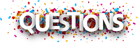 Questions sign with colorful paper confetti. Vector background. Ilustrace