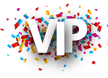 Vip sign with colorful paper confetti. Vector background.