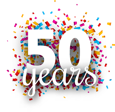Fifty years anniversary with colorful paper confetti. Greeting card. Vector background.