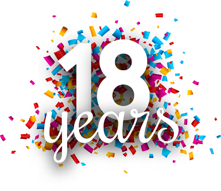 Eighteen years anniversary with colorful paper confetti. Greeting card. Vector background.