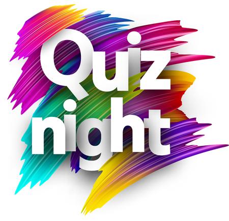 Quiz night sign. Colorful brush design. Vector background. Stock Illustratie