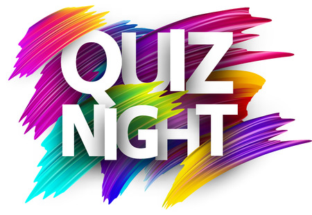 Quiz night poster. Colorful brush design. Vector background. Ilustracja