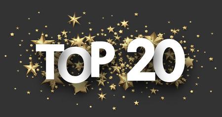Top 20 cartel con estrellas doradas. Encabezado de rating o hit-parade. Fondo de vector.