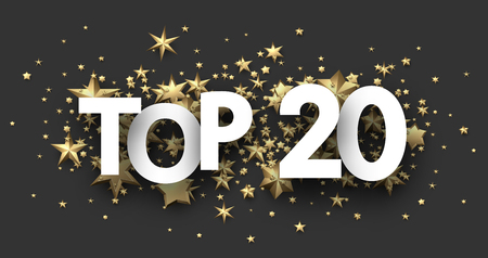 Top 20 sign with gold stars. Rating or hit-parade header. Vector background.