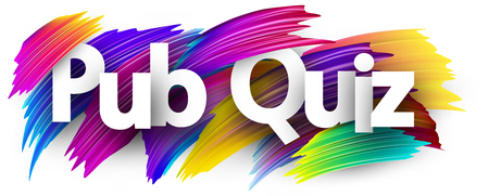Pub quiz sign. Colorful brush design. Vector background.