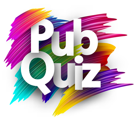 Pub quiz card. Colorful brush design. Vector background.