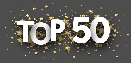 Top 50 sign with gold stars. Rating or hit-parade header. Vector background.