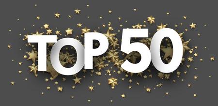 Top 50 signe avec des étoiles d'or. Note ou en-tête de hit-parade. Fond de vecteur.