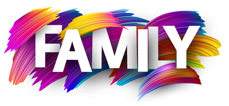 Family card. Colorful brush design. Vector background.