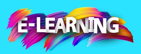 E-learning banner. Colorful brush design. Vector background.
