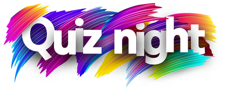 Quiz night poster. Colorful brush design. Vector background. Çizim