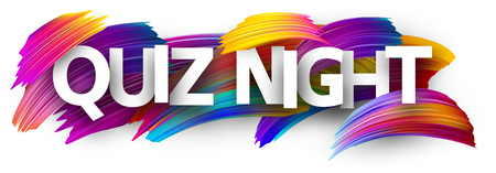 Quiz night poster. Colorful brush design. Vector background. 矢量图像