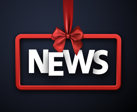 Blue news sign or header with red satin bow. Vector background.