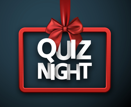 Quiz night blue sign with red satin bow. Vector background.