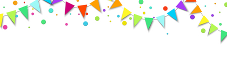 White holiday, New Year or birthday banner with colorful flags and confetti. Vector background. Çizim