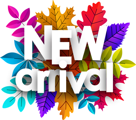 New arrival card. Promo poster with colorful leaves for shop. Vector background.