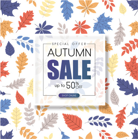 Autumn up to 50% off sale. Promotion poster with color leaves pattern. Shop online. Vector background. Banco de Imagens - 107812942