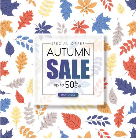 Otoño hasta un 50% de descuento en la venta. Cartel de promoción con patrón de hojas de color. Tienda en linea. Fondo de vector.