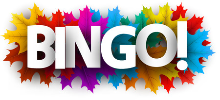 Autumn bingo card with colorful maple leaves. Vector background. Vektorové ilustrace
