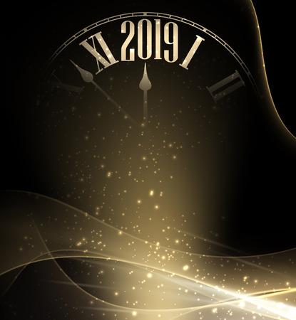 Fondo de año nuevo 2019 negro y dorado brillante con reloj borroso. Hermosa plantilla de tarjeta de felicitación de Navidad. Ilustración de vector.