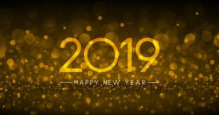 Golden bokeh 2019 Happy New Year greeting card. Vector background. Çizim