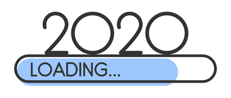 Loading 2020 New Year blue creative festive banner with progress bar. Vector background.