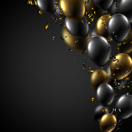 Festive poster with black and gold shiny balloons and serpentine. Holiday design. Vector background.