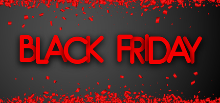 Black friday sale grey promo poster with red paper confetti. Advertising banner for shop. Vector background.