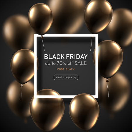 Black friday sale promo poster with brown shiny balloons and white square frame. Special offer up to 70% off, start shopping. Vector background. Illustration