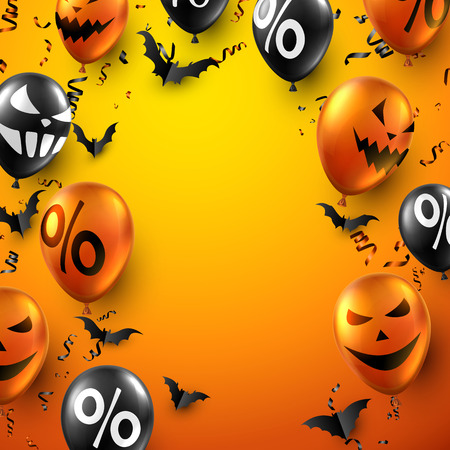 Orange Halloween poster with bats, balloons and serpentine. Holiday sale. Vector background.
