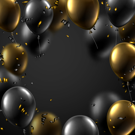 Festive card with black and golden shiny balloons and serpentine. Holiday decoration. Vector background.