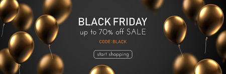 Black friday sale promotion banner with brown shiny balloons. Special offer up to 70% off, code black. Vector background.