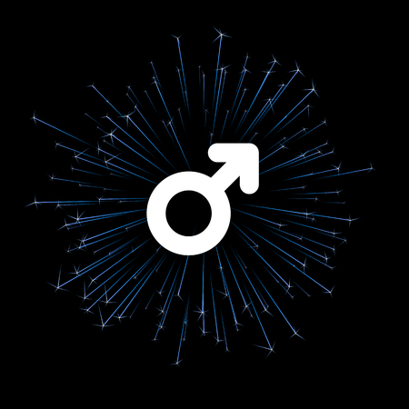 Male sign with blue firework on black. Vector background.
