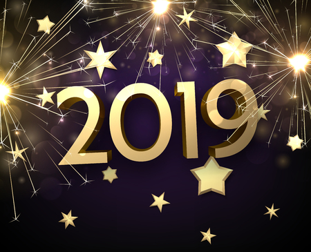 Happy New Year 2019 card with golden stars and sparkling firework. Vector background.