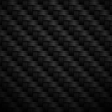 Black carbon texture with fiber weave structure. Vector background. Vettoriali