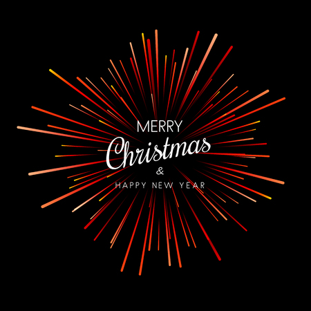 Merry Christmas and Happy New Year card with red firework. Vector background.