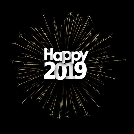 Happy New Year 2019 card with golden sparkling firework. Vector background.