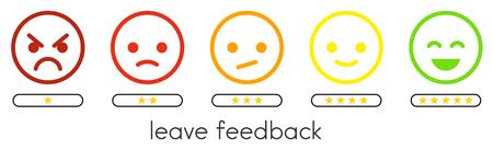 Laisser les commentaires. Échelle de vote avec boutons d'émoticônes de couleur et une à cinq étoiles. Icônes de smiley plat de différentes couleurs. Illustration vectorielle.