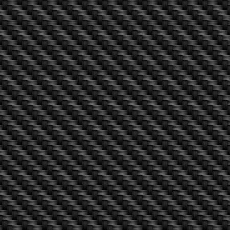 Texture in carbonio nero con struttura a trama in fibra. Sfondo vettoriale.