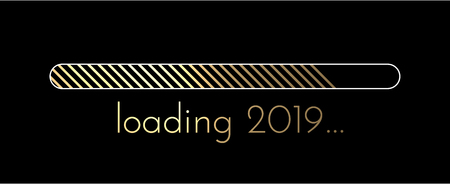 Loading 2019 New Year creative banner with golden progress indicator. Vector background. Ilustrace