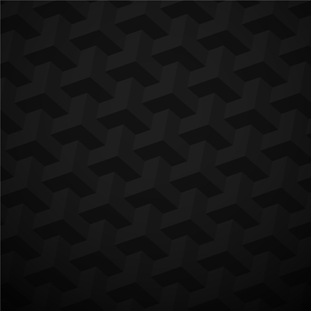 Black abstract paper texture with 3d geometric pattern. Vector background.
